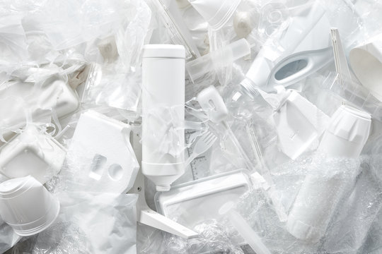 Plastic trash in a pile