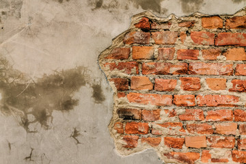 old brick wall plater falling