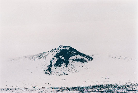Snow-Covered Mountain Peak in Winter Iceland Shot on Film