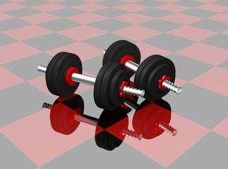zwei Kurzhanteln auf rot schwarz karierten Boden mit Spiegelung. 3d render