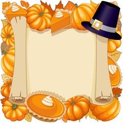 In de dag Draw Halloween Thanksgiving Pumpkin pie Holidays Parchement Frame Vector Illustration