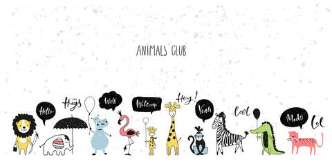 Safari cute animals row with lettering. Vector childish set