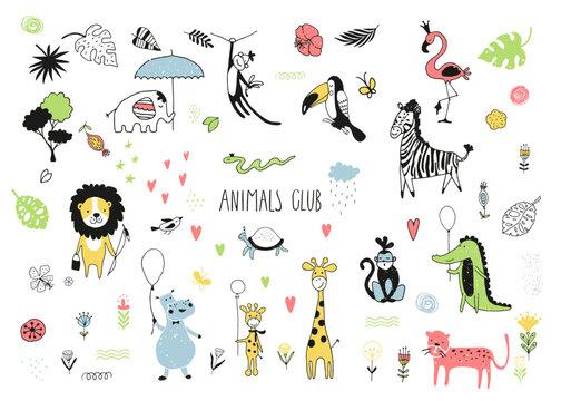 Safari cute animals doodle set. Naive art