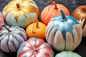 Different colored multi-colored pumpkins on a dark concrete background. Layout for the holidays Halloween