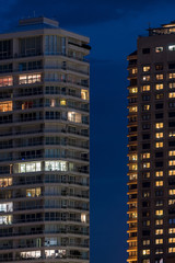 Two high rise buildings at night, Sydney, Australia