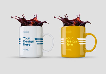 Coffee Mug Mockup with Splash