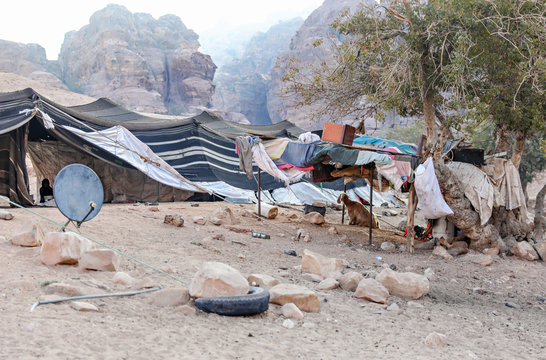 An actual bedouin camp of nomads in the desert of Jordan, near Petra.