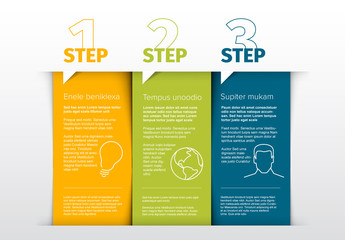 3 Vertical Steps Info Chart Layout with Graphic Icons