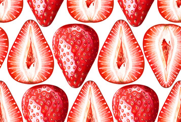 Seamless pattern with ripe strawberries on white background. Watercolor illustration.