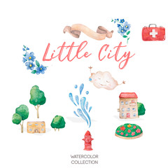 A landscape with cute little house and tree, watercolor hand drawn colorful illustration cartoon clip art isolated on white background