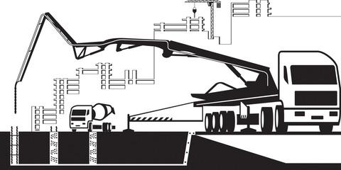 Concrete pump truck  working on construction site - vector illustration