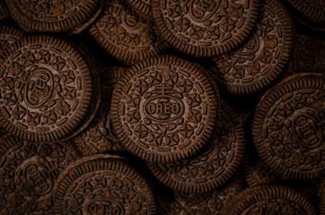 Lots of brown oreo cookies