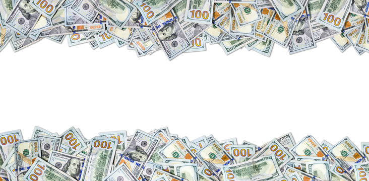 One hundred dollar bills isolated on white background