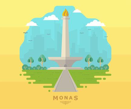 Jakarta Monas Flat Vector Design Illustration. National Monument of Indonesia the Landmark of Jakarta City. Monumen Nasional Jakarta Tugu Monas