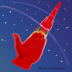 Abstract illustration, the first launch of the USSR rocket. A retro red rocket takes off, on a blue background