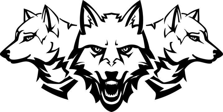White Wolfpack Line Art