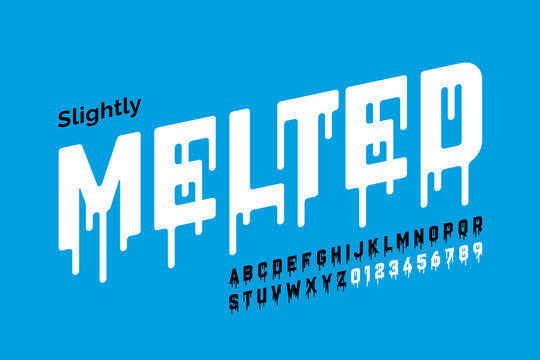 Melting style font design, alphabet letters and numbers