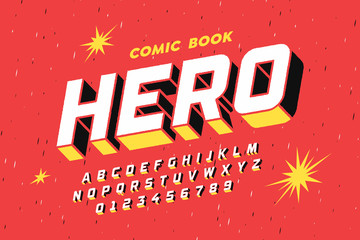 Comic book style font design, alphabet letters and numbers