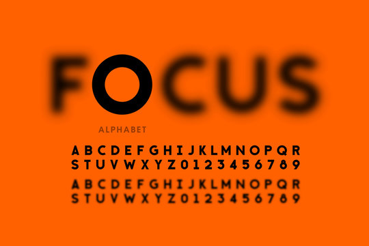In focus style font design, alphabet letters and numbers