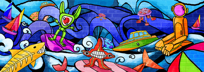 City monsters Future the colorful paint  Wall