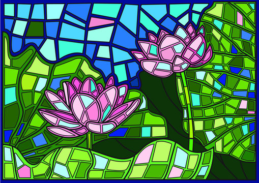Lotus flower moses Stained glass illustration vector