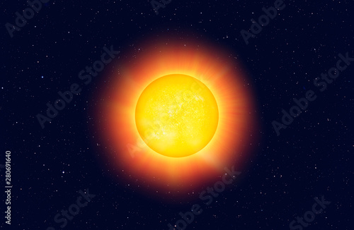 Wall mural Hot Yellow sun on a black space and stras background