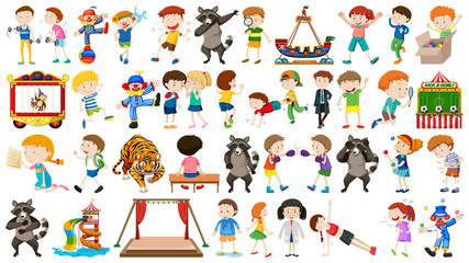 Huge circus collection with mixed animals, people, clowns and rides