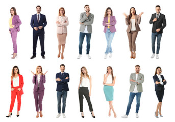 Collage of emotional people on white background
