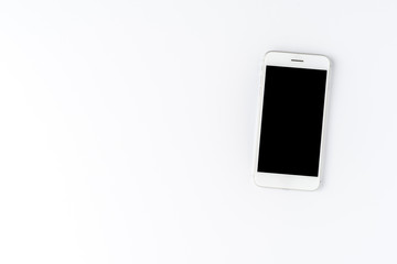 Smart phone isolated on white background. Top view