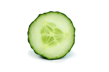Sliced open green cucumber vegetable isolated on white background Wall mural