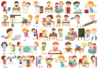 Boys, girls, children in educational fun activty theme