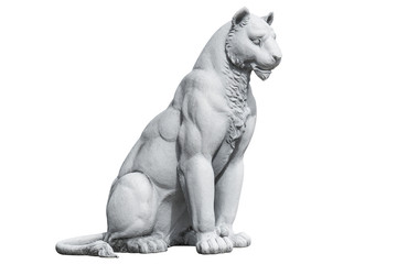 Tiger statue isolated on white background. Tiger concrete sculpture isolated