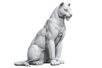 Photo sur Aluminium Puma Tiger statue isolated on white background. Tiger concrete sculpture isolated