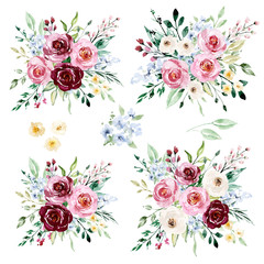 Watercolor floral set, illustrations flower bouquet. Pink and burgundy roses hand drawing. Isolated on white. Perfectly for print design greeting card, banner, wedding decoration, poster, invitation.