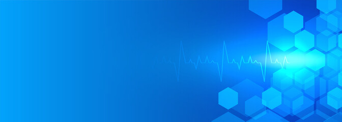 Fototapeta healthcare and medical blue banner with text space obraz