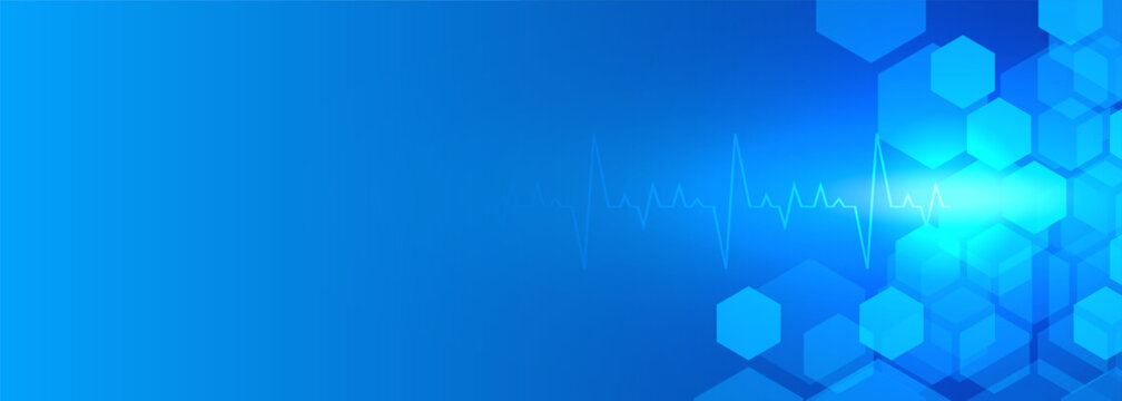 healthcare and medical blue banner with text space