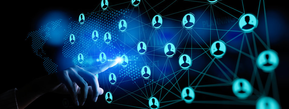 Business hand working global structure networking and data exchanges customer connection with new computer Ui.