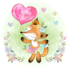 Foto op Canvas Klassieke abstractie Cute Fox with a balloon in the form of a heart. Valentine. I love you. Vector. Watercolor.