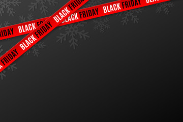 Template for Black Friday sale on black background. Crossed red ribbons with text. Snowflakes background. Super seasonal sale. Festive graphic elements. Vector illustration
