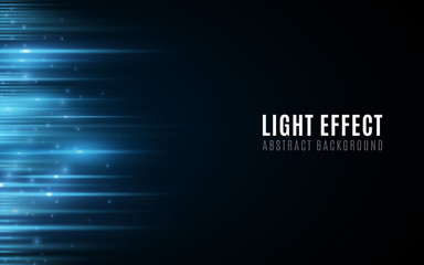Wall Mural - Abstract background of blue glowing lines with particles. Light effect. Futuristic blurred neon lines on dark background. Vector illustration