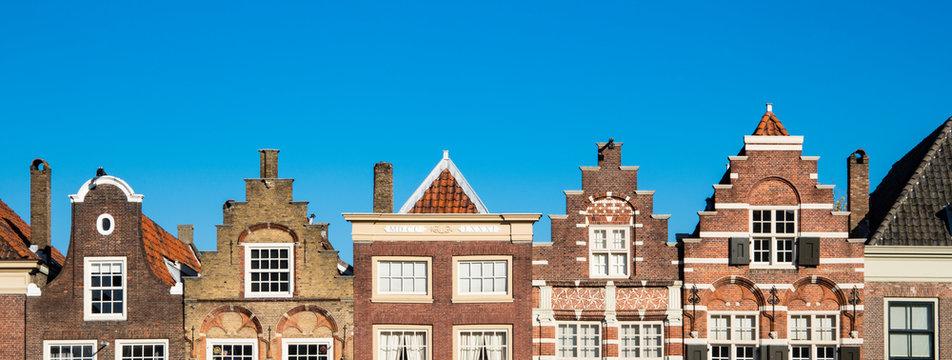 stepped gable Houses in street Nieuwstraat (Statenplein), Dodrecht. The Netherlands.