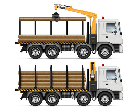 Logging truck side view isolated on white background. Forestry and wood production vehicle vector mockup. All elements in the groups on separate layers for easy editing and recolor