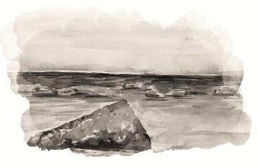 Beautiful summer sea side view art illustration
