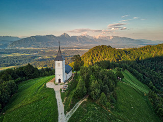 Slovenia drone photo bled jamnik sunset alps weather blue sky