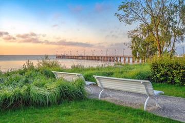 Obraz Dawn on the Baltic Sea, Pier in Gdynia Orlowo, Poland - fototapety do salonu