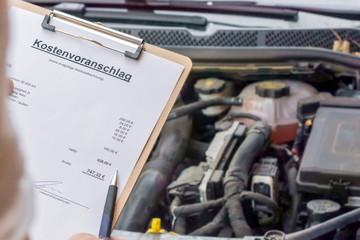 Kostenvoranschlag für die jährliche Inspektion eines Autos in deutscher Sprache