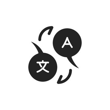 flat translate, bilingual, multilingual, glyph icon symbol sign, logo template, vector, eps 10
