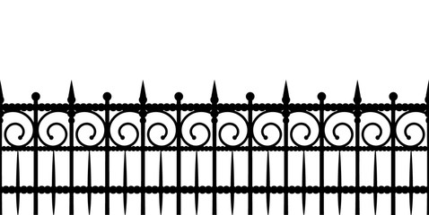 Silhouette of a fence. Seamless horizontal vector pattern on white background. Fototapete