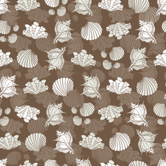 Vector brown and white repeat pattern with seashells. Perfect for fabric, scrapbooking, wallpaper projects.
