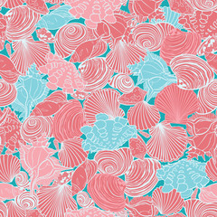 Vector coral pink and blue repeat pattern with variety of overlaping seashells. Perfect for fabric, scrapbooking, wallpaper projects.